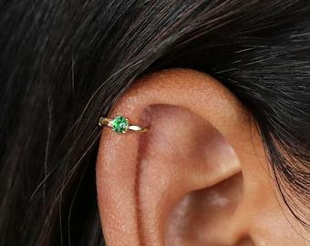 Tiny Emerald Helix Hoop Earrings, Huggies, Gold, Silver SHEMISLI SH196