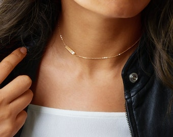 Initial Choker Necklace, Simple Choker Gold, Chain Choker, Personalized bar in Sterling Silver, Rose Gold Filled, Gold Filled ZN00171