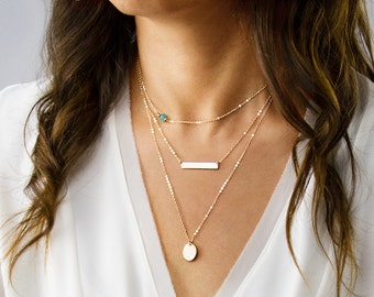Delicate Layered Necklaces, Personalized Set, Gold Bar Necklace, Silver Disc Necklace, Layered Stone Necklace SNL001