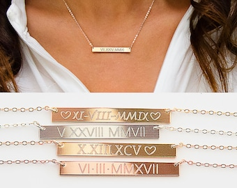 Roman Numerals Necklace, Roman Dates Bar Necklace, Custom Engraved Bar, Gold Filled, Silver, Rose Gold, Silver bar ZN00031