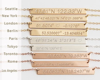 Custom Coordinates Necklace reversible, Latitude Longitude necklace, Location GPS Coordinates, Gold Filled, Silver, Rose Gold fill  ZN00041