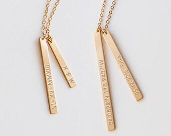Custom Bar Necklace, Personalized Gift, Simple Vertical Bar Necklace, Roman Numeral Necklace,  Wedding Gift, Gold, Silver, Rose Gold ZN00140