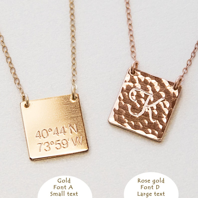Square Initial Necklace Teen BFF Necklace Gold Silver Rose Gold Square Plate Necklace Personalized Couples Jewelry Monogram Necklace