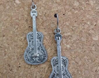 Silver Filigree Guitar Dangle Earrings