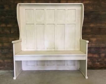 Reclaimed Barn Wood High Back Chapel Bench