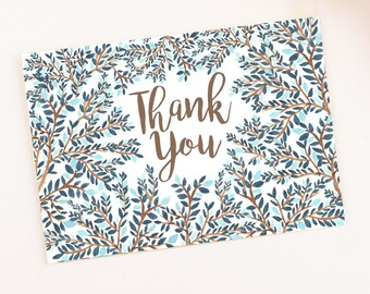Blue Floral Thank you card printable template watercolor digital leaves branches elegant instant download floral pattern Leaf greeting card