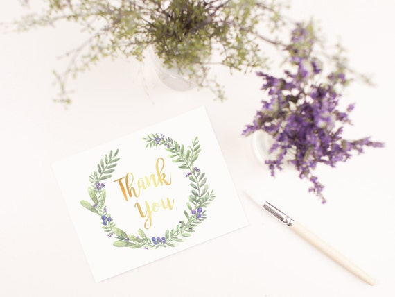 Watercolor Leaves Wreath Blank Thank You Card Template Digital Printable Instant Download File Floral Berries Greeting Card