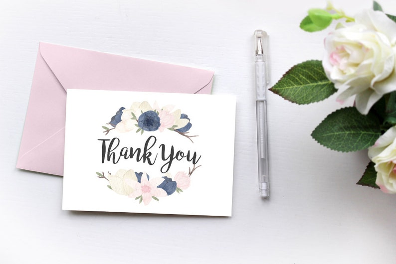watercolor floral blank thank you card template digital  etsy
