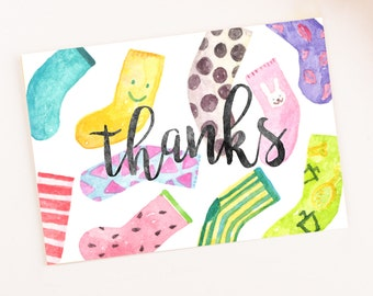 Funny Watercolor Thank you card printable template digital party download socks funny kids colorful cute pattern greeting card