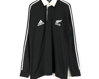 b497f914776 Vintage ADIDAS Shirt New Zealand All Black Embroidered Big Logo Black Color  Streetwear Rugby Clothing Medium Size Chest 22