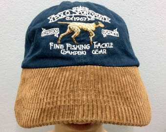 810677dd886 Rare POLO SPORTSMAN Ralph Lauren Cap Corduroy Embroidered Fine Fishing  Tackle Big Logo Leather Strap Adjustable Free Size