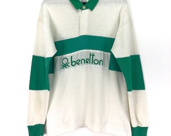 4dcaa2c44f3 Vintage BENETTON Shirt Rugby Spell Out Big Logo Block Color Green  Streetwear Activewear Rugby Clothing Chest 20.5