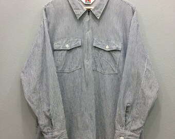 47ee68597c 80s Ben Davis Shirt Long Sleeve Half Zipper Talon 42