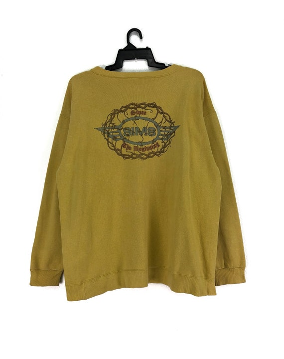 Vintage SIMS Sweatshirt Jumper Big Logo Dark Yellow Color Streetwear Skateboard Clothing Chest 24.5