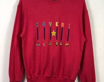 """Vintage Enrico Coveri Sweatshirt Jumper Embroidered Spell Out Multicoloured Logo Streetwear Casual Clothing Medium Size Chest 20.5"""""""