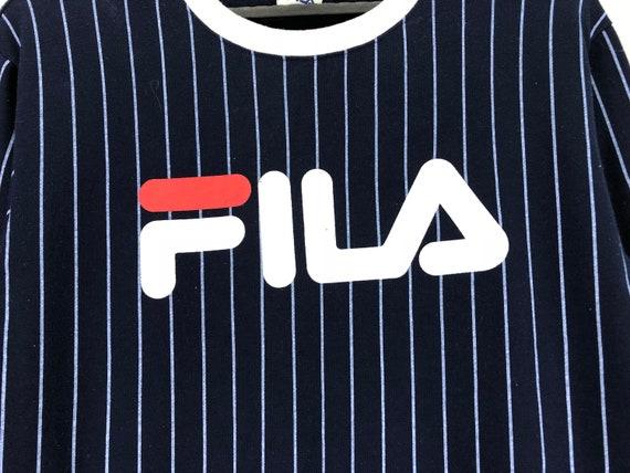 Rare FILA Sweatshirt Jumper Crewneck Striped Big Logo Blue Color Streetwear Clothing Large Size On Tags Chest 21.5