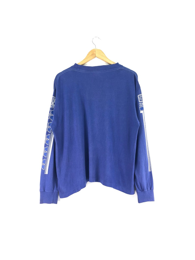 Vintage HONDA O/'neal Usa Tshirt Long Sleeve Spell Out Big Logo Blue Color Streetwear Motocross Activewear Clothing Chest 22.5