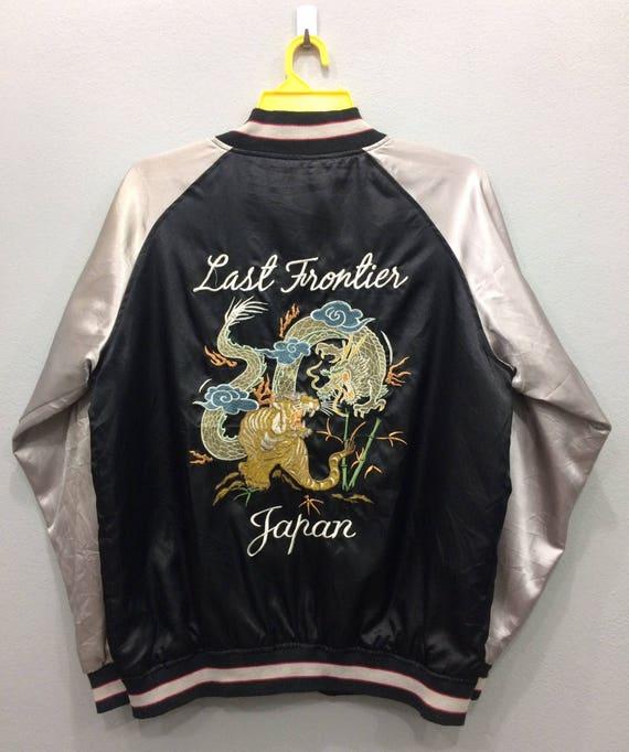 Vintage Sukajan Sauvenir Jacket Japanese Traditional Embroidered Eagles Roar Satin Jacket  Black Color Unisex Adult Large Size On Tag