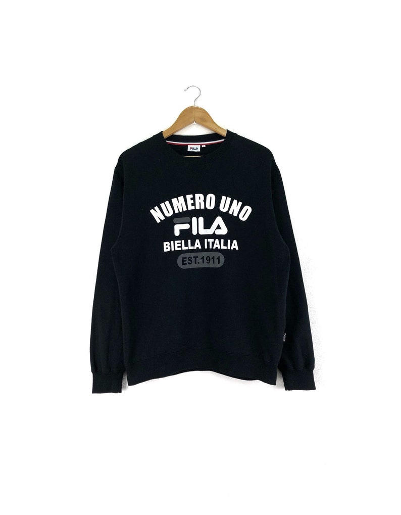 9dff9ade9155 Rare FILA Bella Italia Sweatshirt Jumper Big Logo Black Color