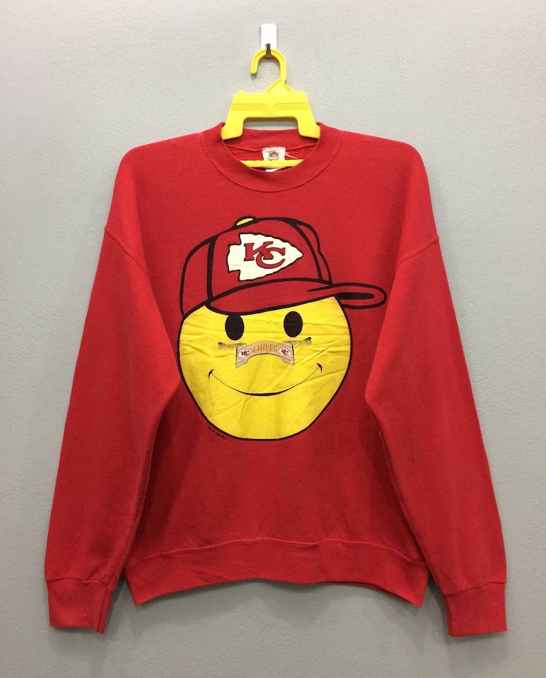 sports shoes 688b2 71939 Vintage Kansas City Chiefs Sweatshirt Jumper Long Sleeve Big Logo Red Color  NFL Football Streetwear Clothing Large Size Unisex Adult