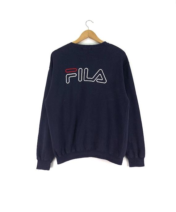 Vintage FILA Sweatshirt Jumper Embroidered Spell Out Big Logo Dark Blue Color Streetwear Clothing Chest 22