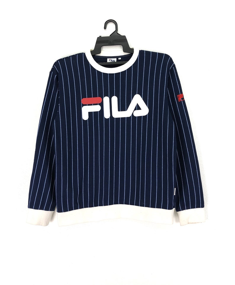 64e04b431dc1 Rare FILA Sweatshirt Jumper Crewneck Striped Big Logo Blue