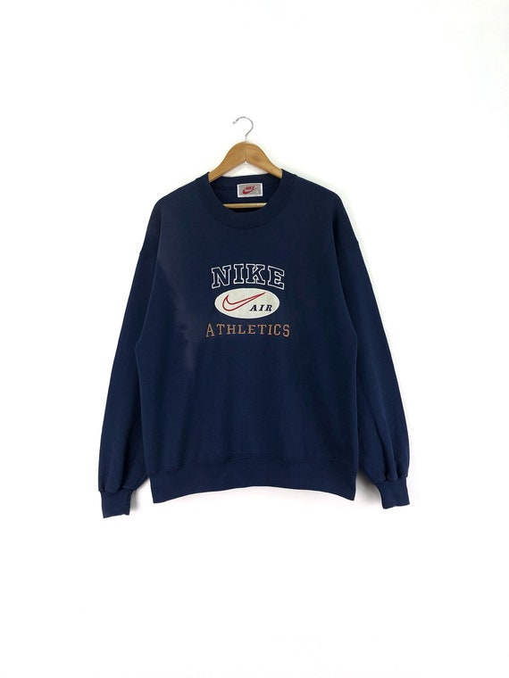 low cost sports shoes cute Vintage NIKE AIR Athletics Sweatshirt Jumper Embroidered Spell Out Big Logo  Dark Blue Color Streetwear Medium Size On Tags Chest 22.5