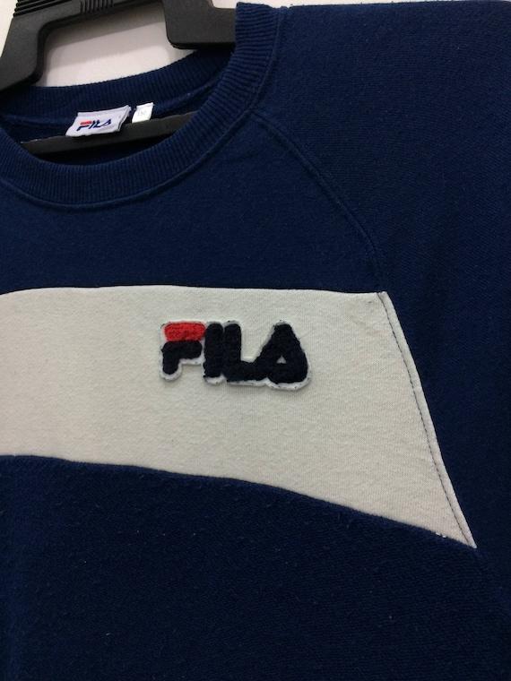 Fila Sweatshirt Jumper Small Logo Navy Blue Color Small Size Chest 17