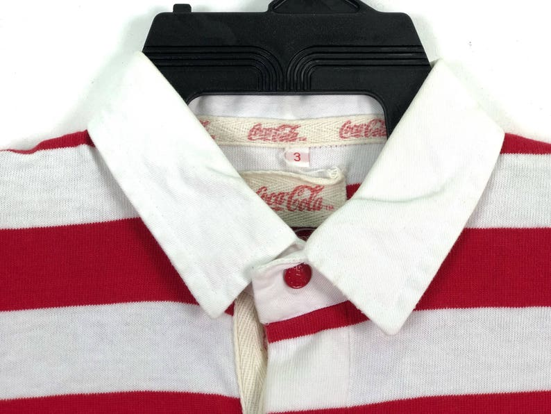 46b22fc697 Coca Cola Shirt Button Up Striped Red White Color Big Logo | Etsy