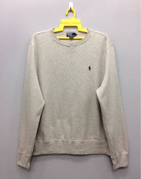 Vintage Polo Ralph Lauren Sweatshirt Crewneck Jumper Long Sleeve Small Pony Grey Color Streetwear Clothing Large Size