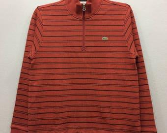 Lacoste Sweatshirt Jumper Half Zipper Striped Pockets Long Sleeve Streetwear Casual Clothing Unisex Adult Dc6jXf