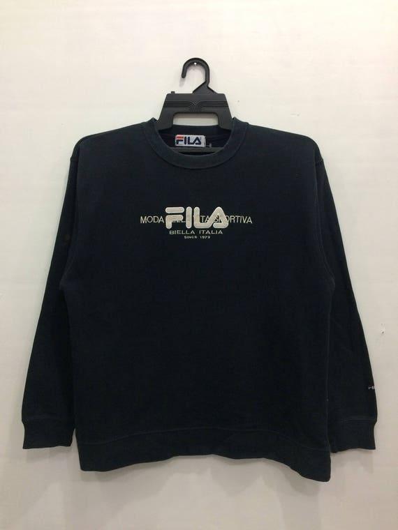 Vintage Fila Sweatshirt Jumper Embroidered Big Logo Black Color Medium Size Streetwear Casual Clothing Chest 22