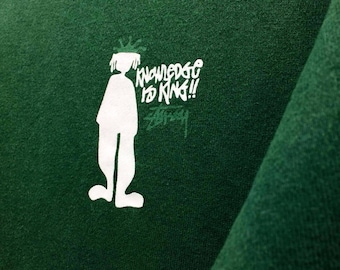 "Vintage Stussy Sweatshirt Jumper Long Sleeve Big Logo Dark Green Color Streetwear Clothing Medium Size Chest 19.5"""