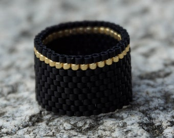 FREE SHIPPING Minimalist Ring Beaded ring Black Band ring Seed Bead Ring Beaded Jewelry Peyote Ring Unique ring Black Matte ring