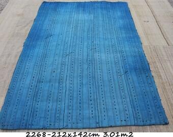 Turkish Wool Blanket,212x142cm,6.10x4.7ft,Kilim rug,Blanket Kilim,Blue Rug,rug,Turkish kilim,Kilim,BLANKET RUG,Rugs,Turkish rug,2268