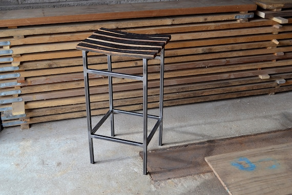 Superb Industrial Bar Kitchen Stool With Reclaimed Oak Barrel Stave Seat Home And Business Furniture Ncnpc Chair Design For Home Ncnpcorg