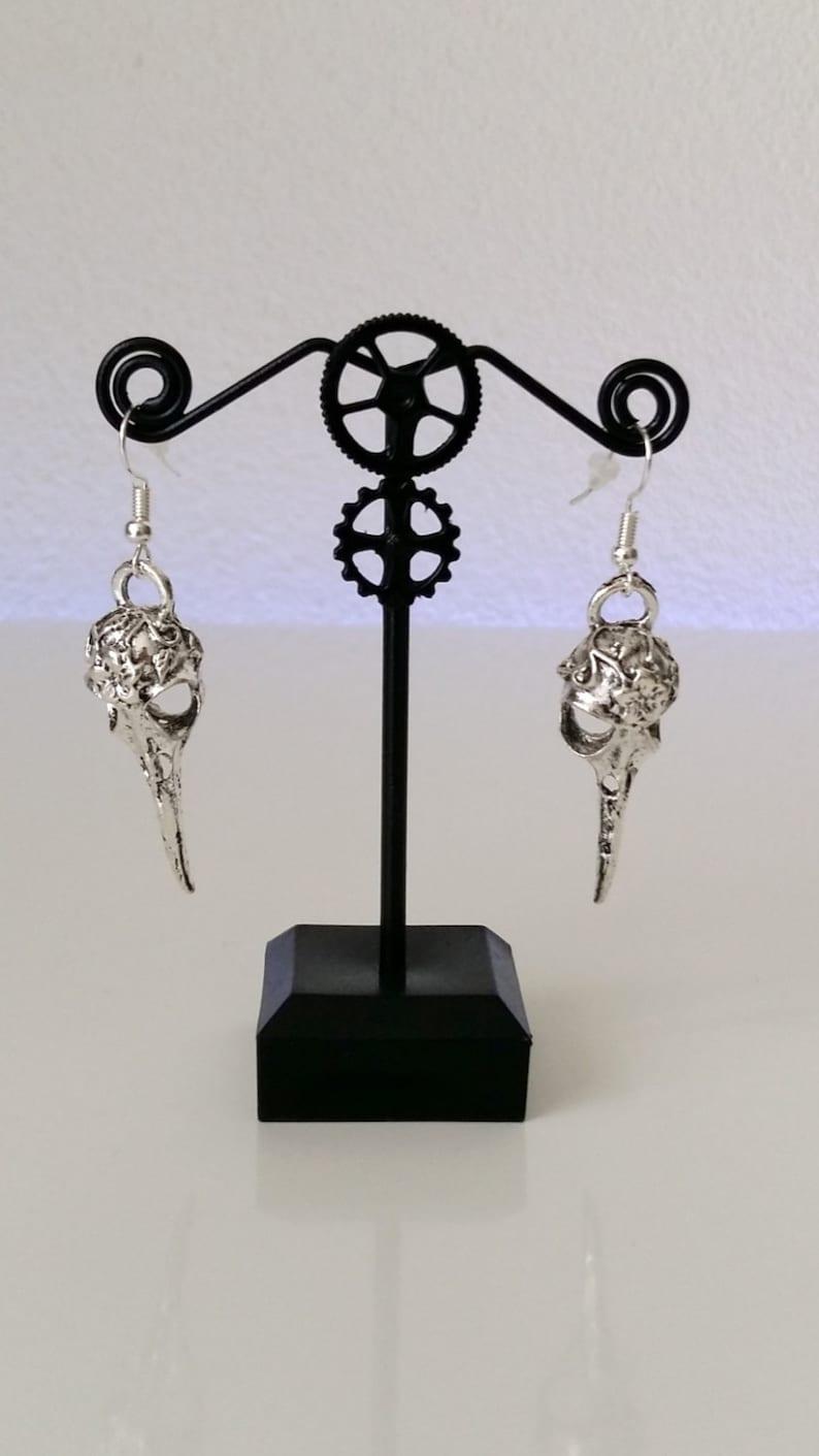 Gothic Silver Raven Earrings