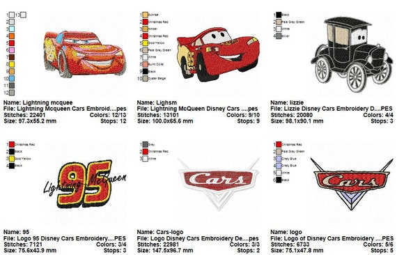 Package 24 Disney Cars Embroidery Designs Etsy