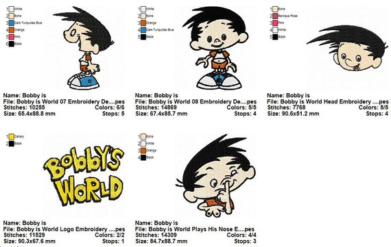 package 11 bobby is world embroidery designs etsy