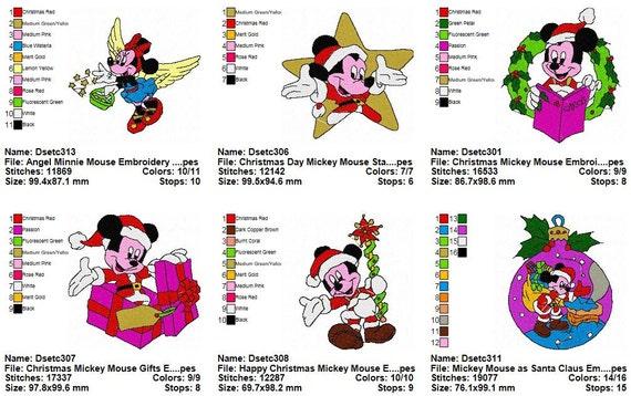 Paquete de 20 diseños de bordados de Mickey Mouse de Navidad | Etsy