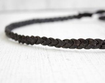 Headband Hairband leather - black