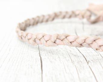 Headband Hairband LEATHER // white *antik