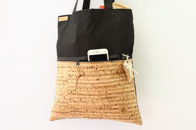 3a5634bd0 Tote bag ZIP // black & striped | Etsy