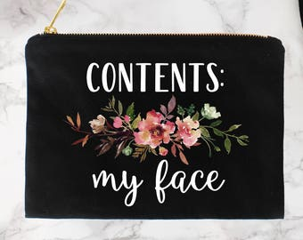 Funny Cosmetic Bag, Funny Makeup Bag, Cosmetic Bag, Makeup Pouch, Canvas Bag, Bridesmaid Gifts, Floral Makeup Bag, Gift for Best Friend