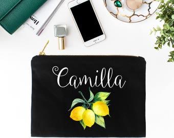 Lemon Makeup Bag, Capri Wedding, Wedding Gift, Bridesmaid Gifts, Bridesmaid Makeup Bag, Cosmetic Bag, Lemon Cosmetic Bag, Personalized Bag