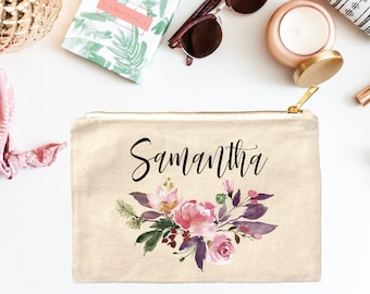 Bridesmaid Cosmetic Bag, Personalized Name Makeup Bag, Cosmetic Bag, Makeup Pouch, Canvas Bag, Bridesmaid Gifts, Floral Makeup Bag, Gift