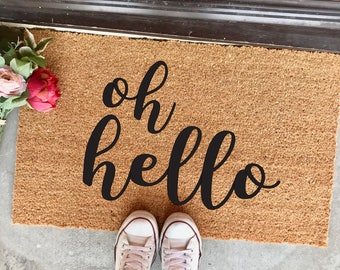 "oh hello doormat - 18""x30"" - script font -  calligraphy - welcome mat - cute doormat - spring decor - apartment decor - housewarming gift"