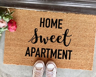 "home sweet apartment doormat - 18""x30"" - welcome mat - apartment decor - housewarming - new home - cute doormat - entryway - calligraphy"