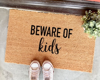 "beware of kids doormat - (18x30"") funny doormat - gifts for parents - cute doormat - entryway - doorway - entrance - cute doormats"