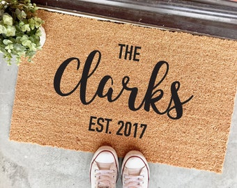 "custom last name and established date personalized doormat - 18x30"" - custom mat - wedding gift - housewarming - realtor - closing gift"